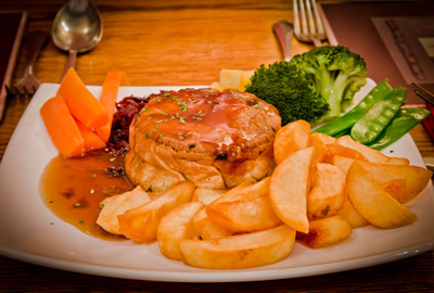 The George steak & ale pie really is good pub food near Shepton Mallet