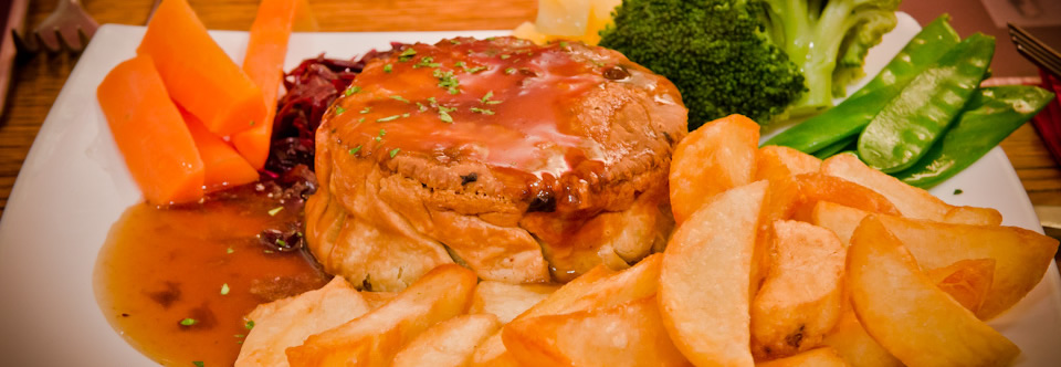A good food choice is our pub classic, Steak & Ale Pie.